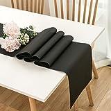 """DOLOPL Table Runner Black Table Runners 12""""×72"""" Easy to Clean Non-Slip Heat Resistant Modern Farmhouse Table Runner for Dinne"""