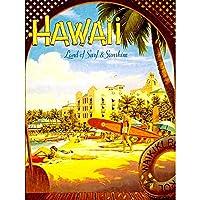 Travel Tourism Hawaii Surf Beach Sunshine Waikiki Hotel Resort Pacific USA Art Print Poster Decor 12X16 Inch 旅行観光ビーチホテルリゾートパシフィックアメリカ合衆国ポスターデコ