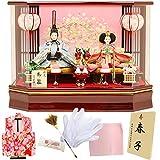 人形工房天祥 雛人形 ひな人形 限定オリジナル ケース飾り コンパクト 衣装着ひな人形 お手入れセット&お被布付き (扇に桜柄刺繍)