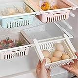 4 Pieces Retractable Fridge Drawer Organisers,Refrigerator Storage Box Holder Food Organizer,Space Saving Storage Fridge Shel
