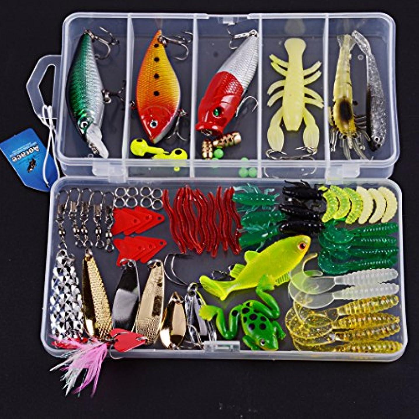 章コンベンショングローブAorace 79pcs釣りは、ミノーポッパーを含むセットを掘ります。ハードメタルルアーVIBラトルソフトルアーエビの餌VIBスプーンカエル釣りフックフリータックルボックス付きジグヘッドその他の釣りギア