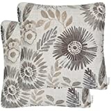 Mika Home Pack of 2 Decorative Throw Pillows Cases Cushion Cover Sofa Couch Bed,Sunflower Pattern,20x20 Inches,Grey Cream