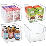 mDesign Plastic Open Front Food Storage Bin for Kitchen Cabinet, Pantry, Shelf, Fridge/Freezer - Organizer for Fruit, Potatoe