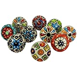 Artncraft 10 Pieces Set Dotted Ceramic Cabinet Colorful Knobs Furniture Handle Drawer Pulls