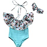 Fioukiay Baby-Girls-One-Piece-Swimsuit-Bathing Suit Open Neck Floral Ruffles Swimwear +Headband 2 Pcs Clothes Set