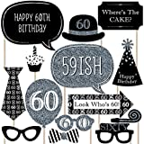 Adult 60th Birthday - Silver - Photo Booth Props Kit - 20 Count