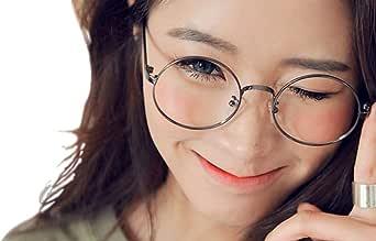 【MM-113】 レディース ファッション トレンド レトロ メタルフレーム 伊達メガネ 丸眼鏡 クリアレンズ & マイクロファイバークリーニングクロス
