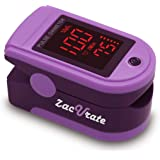 Zacurate Pro Series 500DL Fingertip Pulse Oximeter Blood Oxygen Saturation Monitor with Silicon Cover, Batteries & Lanyard (M