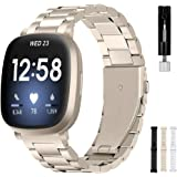 Intoval Band for Fitbit Versa 3 Bands, Fitbit Sense Bands, for Women and Men, Classic Stainless Steel Bands of Premium Qualit