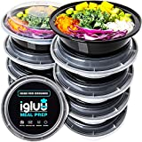 Round Plastic Meal Prep Containers - Reusable BPA Free Food Containers with Lids - Microwavable, Freezer and Dishwasher Safe - Ideal Stackable Salad Bowls - [10 Pack] - Bonus eBook