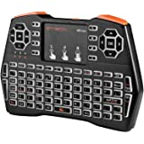 GTMEDIA 2.4G Mini Wireless Keyboard with Touchpad, USB Rechargeable Backlit QWERTY Keypad Remote Controller 92 Keys Gaming Mo