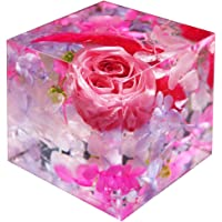 ハーバリウム 固める 固まる クリスタルハーバリウム ピンク フラワーキューブ プリザーブドフラワー フラワーセット ア…