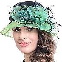 FORBUSITE Women's Ribbon Stripe Church Derby Dress Cloche Hat