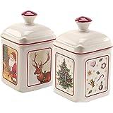 Villeroy & Boch 35-9368-0038 Charm Toy's Delight, 2 Pieces, Jam Pot Maoffrom Hard-Paste Porcelain, Multi-Coloured, Angular, P