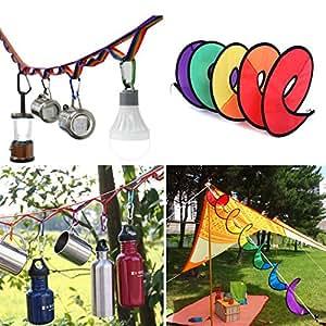 キャンプ デコ 10点 セット/レインボー ハンギングチェーン + スパイラル ウインド スピナー + カラビナ 8点/おしゃれ かわいい テント 装飾