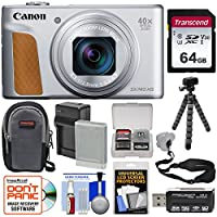 Canon PowerShot SX740 HS Wi-Fi デジタルカメラ (シルバー) 64GB カード+バッテリー&充電器+ケース+三脚+ストラップ+キット