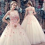 千恵モール ウェディングドレス 安い 妊娠さんもOK カラードレス チューブトップ 可愛い 花付き ふんわり カラードレス ウェディングドレス 結婚式 二次会 演奏 舞台 (Lシャンパン)