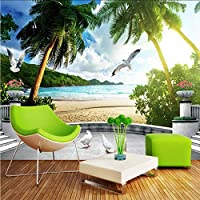 Wxmca 3D壁の壁画東南アジアの風景海辺のビーチ森の数木カスタム写真の壁紙リビングルーム3Dスペース壁紙-280X200Cm
