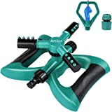 Amlion Garden Sprinkler,3 Nozzles Lawn Sprinklers, 360°Automatic Rotating Water Sprinkler System, Green and Black, 22x22x12 c