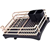 Cabilock Dish Drying Rack Aluminum Dish Drainer Utensil Holder with Tray Kitchen Space Saver Drainer Board for Kitchen Counte