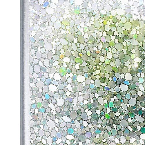 RoomClip商品情報 - 窓 めかくしシート ステンドグラス シール 目隠し 遮光 uv対策 ガラスフィルム 窓ガラス リメイクシート 飛散防止 傷防止 静電気吸着 水貼り はがせる 食器棚 網入りガラスも適用(石目 90 x 200cm)