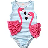 waterluo Toddler Kids Baby Girls One Piece Swimsuit Floral Tassel Striped Beachwear Flamingo Bikini Swimwear Bathing Suit