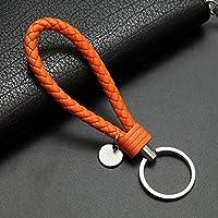 Yipingクリエイティブキーリングギフト人気レザーストラップ織りロープキーリングキーチェーンキーチェーンギフト(オレンジ)