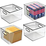mDesign Plastic Office Storage Organizer Container Bin with Handles for Cabinets, Drawers, Desks, Workspace - BPA Free - for