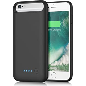 iPhone6/6s/7/8 対応 バッテリーケース 6000mAh 大容量 バッテリー内蔵ケース iPhone7 適応 充電ケース 急速充電 コードレス ケース型バッテリー 超軽量 4.7インチ用 ブラック