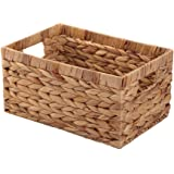 Woven Natural Water hyacinth Rectangular Storage Baskets with inside Handle,Kingwillow(Large)