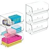 mDesign Plastic Stackable Bin with Open Front for Organizing Home Office, Desk Drawer, Shelf or Closet to Hold Staples, Highl