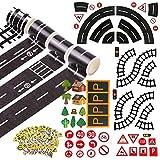 AUGOOG マスキング テープ 道路柄 線路 滑走路 4巻入 自分で道をつくれる おもちゃ 遊び インテリア ミニカー遊び シール