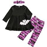 3PCS Baby Girl Halloween Outfit Long Sleeve Ruffle Bat Pumpkin Ghost Top Dress+Leggings Pants+Bow Headband Clothes Set