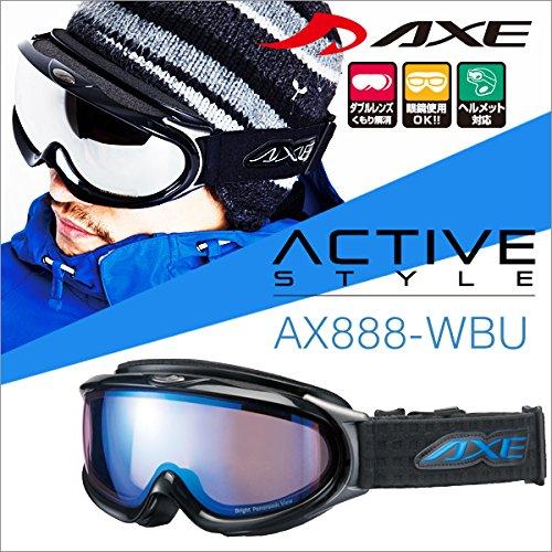 『50ga-006-ca』 15-16 アックス AX888-WBU BK スノーボードゴーグル スキー ゴーグル AXE スノーゴーグル 2015-2016 ダブルレンズ メガネ対応 曇り止め機能付き ヘルメット対応