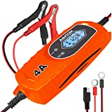 AIMTOM Smart Battery Charger 4 Amp 6/12V Fully Automatic Maintainer 8-Stage Charging Process for Car, Truck, Motorcycle, Boat