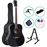 41 Inch Guitar Set Acoustic 21 Fret Positions Guitar Classical Guitar CAPO Strap Tuner Pick ALPHA - Black