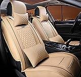 (ファーストクラス)FirstClass フロント リア シートカバー レザー ファッション エアバッグホールあり ニードルワーク 通気性に富むフルセット車シートクッション ベージュ 汎用 10pcs
