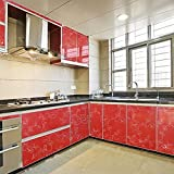 yazi Self Adhesive PVC Laser Peony Shelf Liner Kitchen Contact Paper,24x98 Inches,Red [並行輸入品]