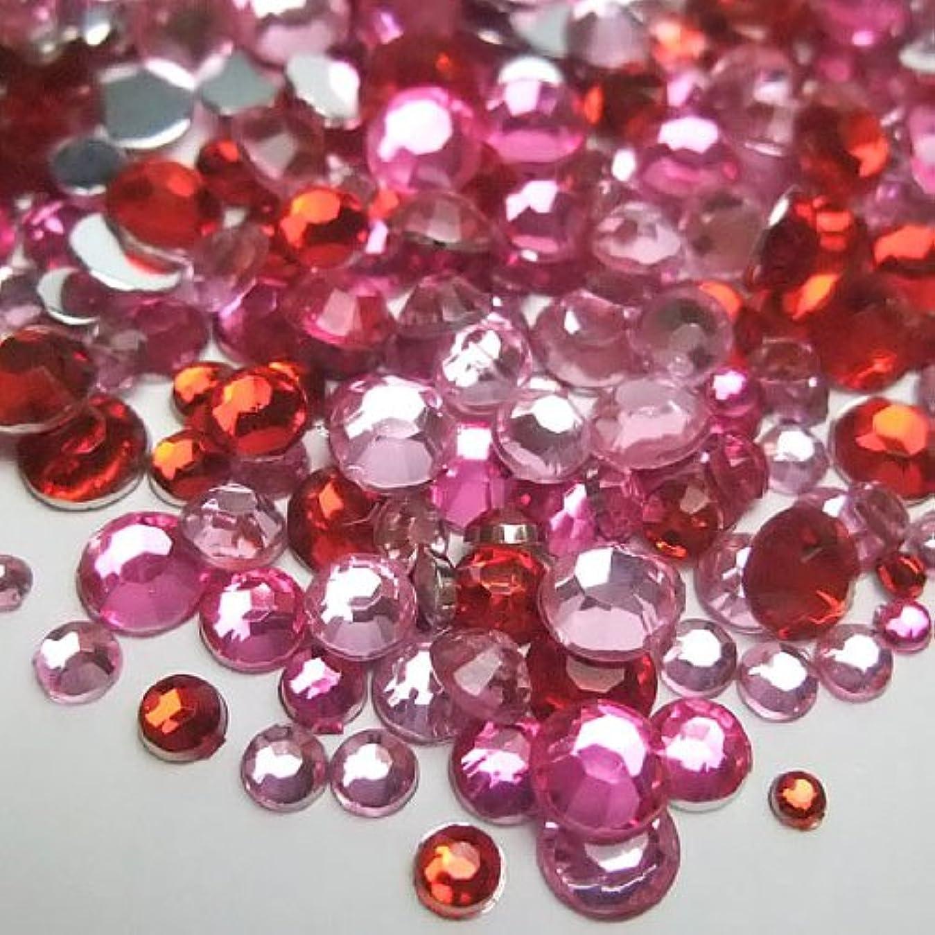 天の可動式パテ高品質アクリルストーン ラインストーン MIXパック 約1000粒入り ピンク系