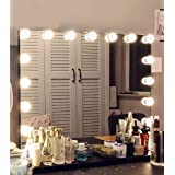Hansong Large Vanity Makeup Mirror with Lights,Hollywood Lighted Mirror with 15 pcs Dimmable Led Bulbs for Dressing Room & Ta