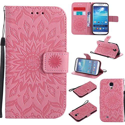 CUSKING Galaxy S4 ケース 手帳ケース カード収納 スタンド機能 エンボス 花柄 かわいい 横開き 手帳型 カード 衝撃吸収 耐衝撃 フリップ 財布型 ケー Galaxy S4専用 - グレー