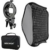 """Neewer® 24""""x24""""/60x60cmBowensマウントソフトボックス グリッドとS型フラッシュブラケット付き Nikon SB-600,SB-800,SB-900,SB-910,Canon 380EX,430EX II,550EX,580"""
