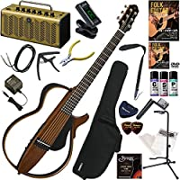 YAMAHA サイレントギター 初心者 入門 細めのネック形状に、弦長634mmスケールを採用。SRTパワードピックアップシステムを搭載したスチール弦モデル レトロなデザインで多機能・高音質のYAMAHA THR5Aが入ってる大人の20点セット SLG200S/NT(ナチュラル)