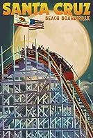 Santa Cruz、カリフォルニア–Big Dipperコースターand Moon 16 x 24 Signed Art Print LANT-43944-709