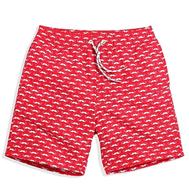 マルチサイズ レッド クイックドライビーチズボンズ ルーズサマーズパンツ メンズ 旅行シーサイドバケーション (サイズ : M)