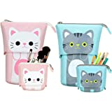 2 Pcs Telescopic Pencil Case Stand Up Pen Bag Pop Up Store Pencil Holder Canvas Cartoon Cute Cat Telescopic Pencil Organizer