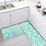 Kitchen Rug Set,LEEVAN Kitchen Floor Mats 2 Piece PVC Leather Anti Fatigue Comfort Heavy Duty Standing Mat Waterproof Oil Pro