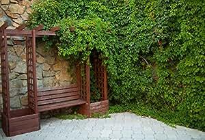 YeeleアウトドアBackdrops 5x 4フィート/1.5X 1.2M木製キャビネットシェルフグリーンプラントRock壁正方形タイル画像大人用芸術的肖像写真の撮影小道具写真撮影背景