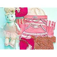 布おもちゃ  肌着  布の着せかえバッグ バレリーナバニー&ボディ肌着4点セット&おまけ付きカチューシャ   プリティギフトセツト  幼児教育