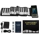 ロールピアノ 88鍵盤 電子ピアノ 音符シール付き Bluetooth機能 128音色 128リズム 14デモ曲 USB充電式 スピーカー内蔵 midiキーボード 楽器 子供 初心者 練習用